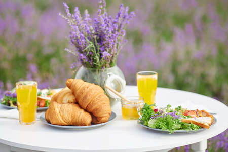 Delicious croissants, glasses of orange juice, honey jar and fresh appetizers for two and vase with lavender bouquet. Close up view of beautiful table decoration in blooming lavender field.
