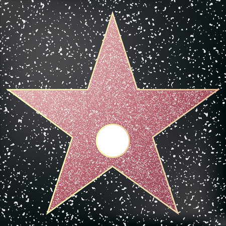 Walk of fame star. Star hollywood. Vector illustration. Çizim