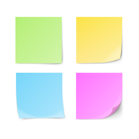 Set of green, yellow, blue, violet sticky notes isolated on white background. Vector illustration.