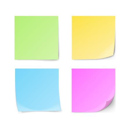 Reeks groene, gele, blauwe, violette kleverige nota's die op witte achtergrond worden geïsoleerd. Vector illustratie.