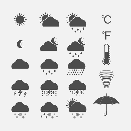 Weather Icons Set. Vector Illustration. Vectores