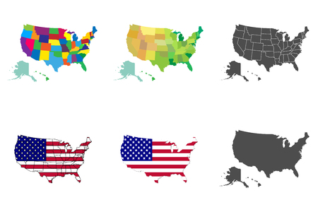 USA map set. Collection United States of America map. Vector illustration.