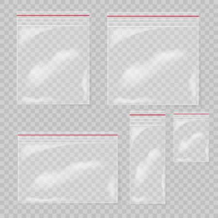 Plastic bag set isolated on transparent background. Collection Empty transparent plastic pocket bags. Vector illustration.