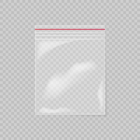 Plastic bag isolated on transparent background. Empty transparent plastic pocket bag. Vector illustration. 矢量图像