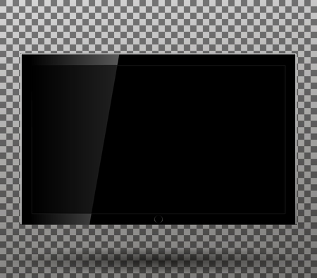 lcd: TV blank screen lcd, led isolated on transparent background. Vector illustration.