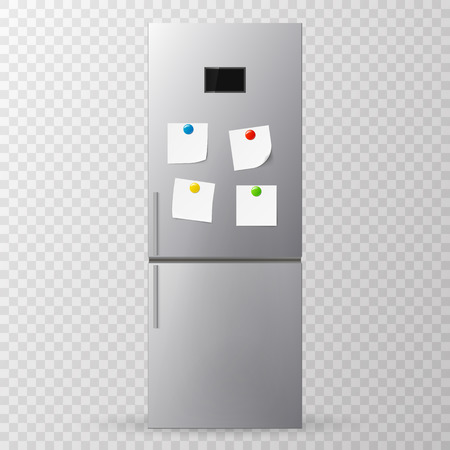 forgetful: Blank paper and stick paper on refrigerator door. Fridge isolated on white background. Vector illustration.