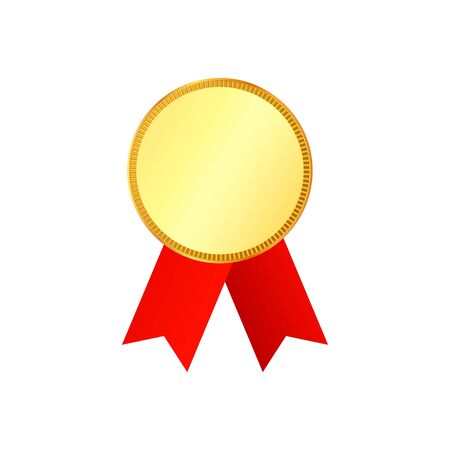 Gold medal on red ribbon with relief detail isolated on background. Vector illustration. Illustration