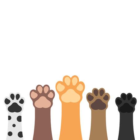 Poten op huisdieren geplaatst die op witte achtergrond worden geïsoleerd. Vector illustratie.
