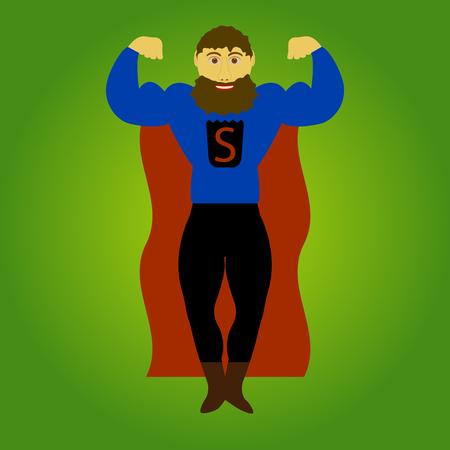 worthy: Super beard man isolated on background. Vector illustration.