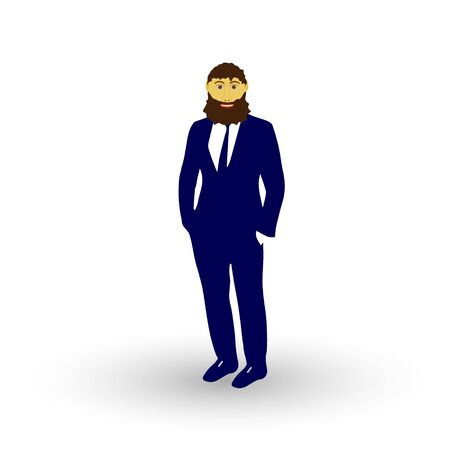 man profile: beard man isolated on white background. Vector illustration.