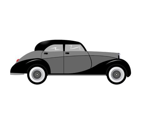 antiquarian: Retro car isolated on white background.