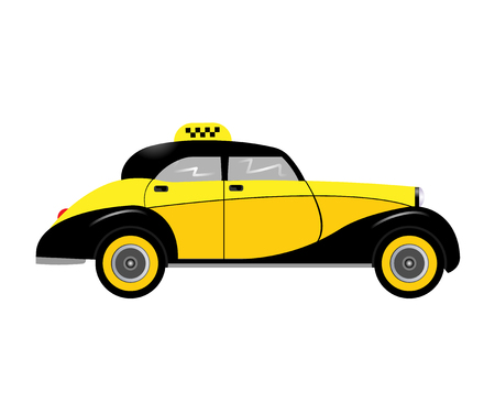 old new york: retro car taxi isolated on white background. Vector illustration. Eps 10