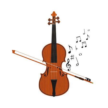 chiave di violino: Plays violin isolated on white background. Vector illustration. Eps 10. Vettoriali