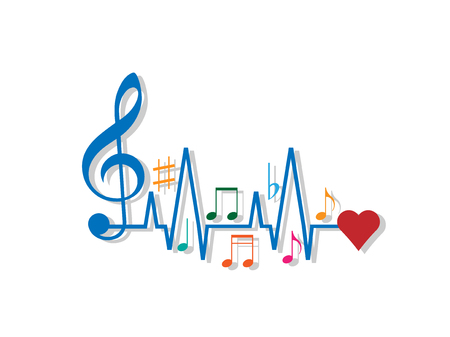chiave di violino: Music to Heart isolated on white background. Vector illustration. Eps 10. Vettoriali