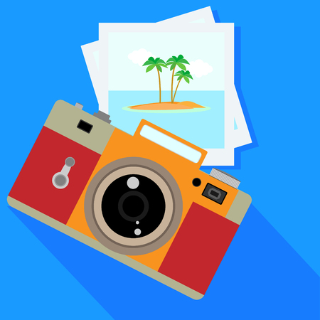 tree service pictures: Camera and pictures. isolated on white background. Vector illustration. Eps 10.