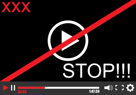 Stop video. Vector illustration. Eps 10 Video player Illustration