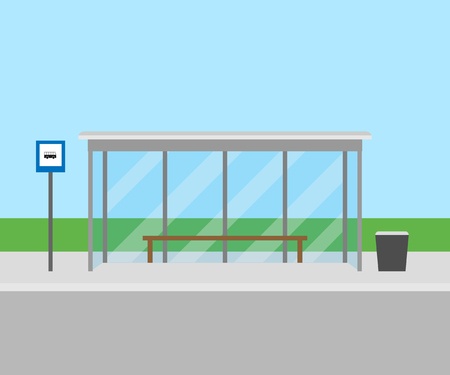 bus stop, front view. Vector illustration. Eps 10.