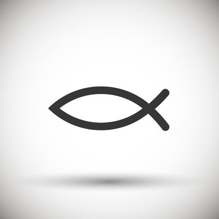 Christelijke vis symbool pictogram geïsoleerd op de achtergrond. Vector illustratie. Eps 10.