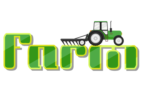 Tractor on Logotype for farm isolated on white background. Vector illustration. Eps 10.