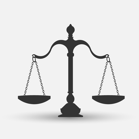equilibrium: scales of justice isolated on white background. Vector illustration. Eps 10