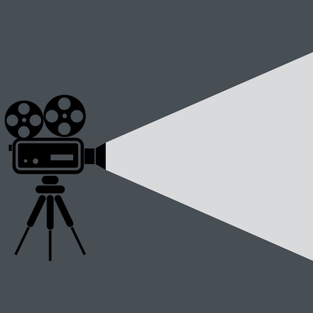 cinematograph: Movie projector icon isolated on background. Vector illustration. Eps 10. Illustration