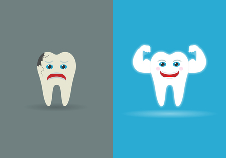 Set of two teeth isolated on background. Vector illustration. Eps 10. Illustration
