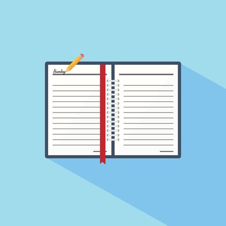 pad: Notebook in a flat style icon isolated on background. Vector illustration. Eps 10.