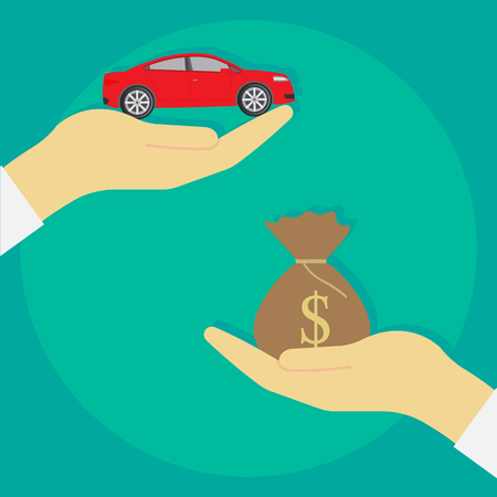 auto service: Buying car isolated on background. Vector illustration. Eps 10. Illustration