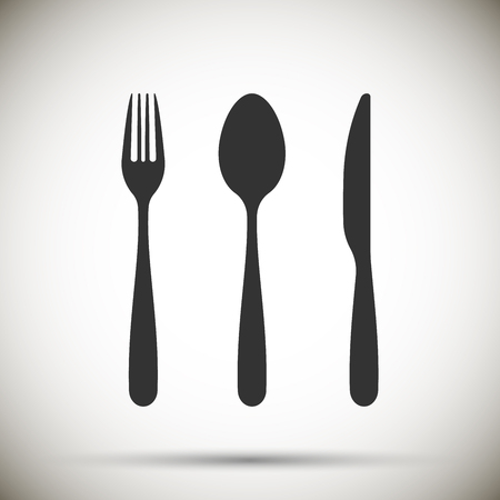 Fork, spoon, knife icon isolated on background. Vector illustration. Eps 10.