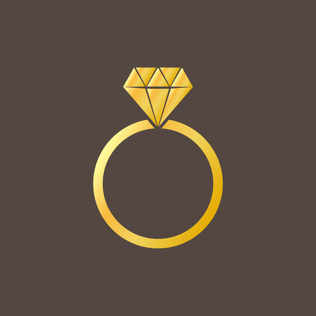 Gold ring with a diamond isolated on background. Vector illustration. Eps 10.