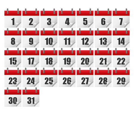 Calendars for all 31 days of a month. Calendar icons set. isolated on background. Vector illustration.