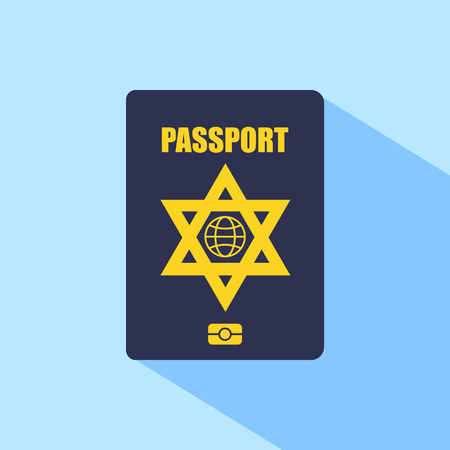 israel passport: Biometric passport of Israel icon. Vector illustration. Illustration