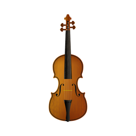 Realistic violin isolated white background Vector illustration. Illustration