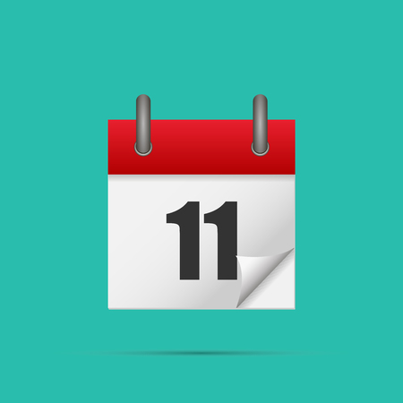 Calendar icon. Calendar date - 11th Vector illustration.