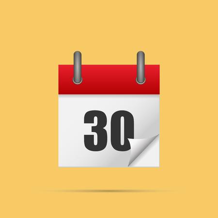 Kalender icoon. Kalender datum - 30e vector illustratie. Eps 10.