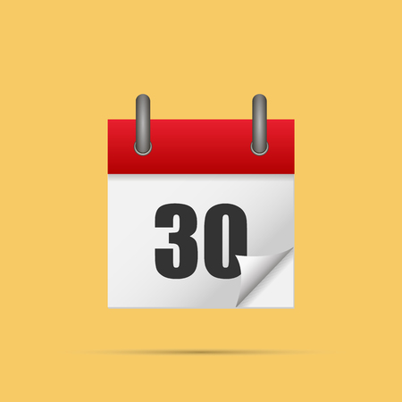 Calendar icon. Calendar date - 30th Vector illustration. Eps 10.