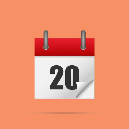 Calendar icon. Calendar date - 20th Vector illustration. Eps 10. Illustration
