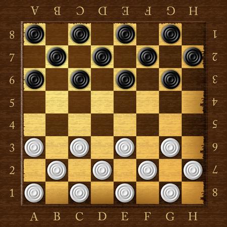 chess board: Checkers. Chess board. Checker game. Vector illustration. Illustration