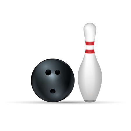 designation: Bowling ball and pin isolated on white. Eps 10.