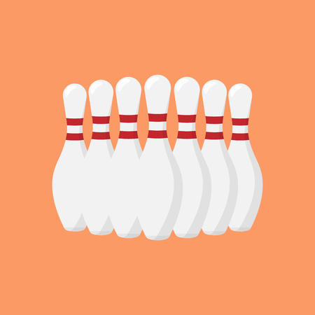spare: Bowling pins. Vector illustration.