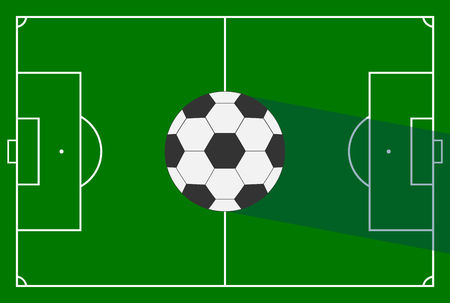 Realistic, soccer field and soccer ball