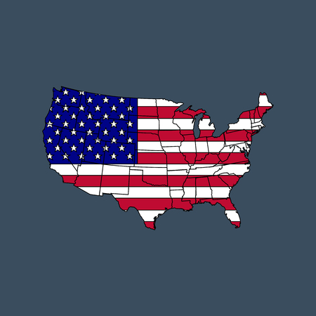 United states of America map with flag. Vector illustration. Illustration
