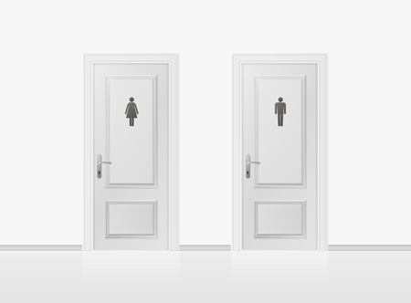 Toilet doors for male and female genders. Realistic WC door. Vector illustration. Illustration