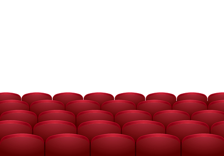 cinema screen: Rows of red cinema or theater seats isolated on white background. Realistic vector illustration. Illustration
