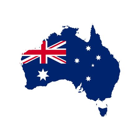 Map of Australia with national flag isolated on white background. Vector illustration. Eps 10.