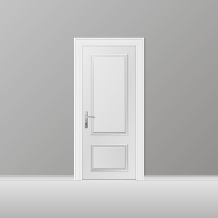 Closed white entrance door. Realistic vector illustration.