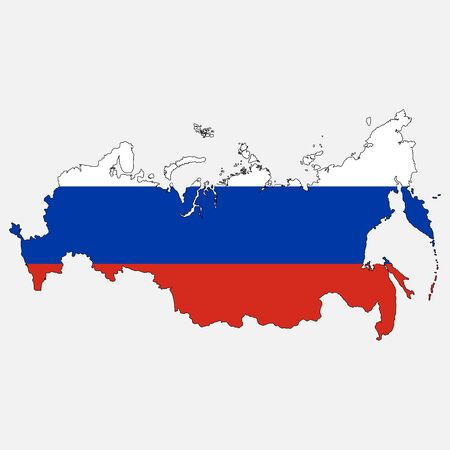 moscow city: Russia vector map with the flag. Isolated on white background. Vector illustration.
