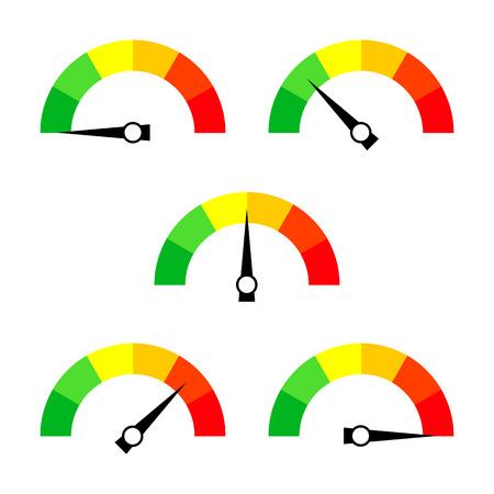 Icono del velocímetro o signo con la flecha. Colección de elemento de indicador colorido Infographic. Ilustración del vector. Ilustración de vector