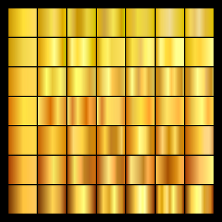 metal textures: Set of gold gradients. Collection of gold backgrounds. Vector illustration.