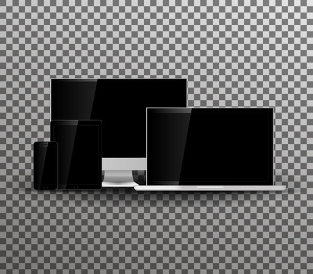 pad: Set of blank screens.Technology device. Computer monitor, laptop, tablet, smartphone isolated on transparent background.Vector illustration. Illustration